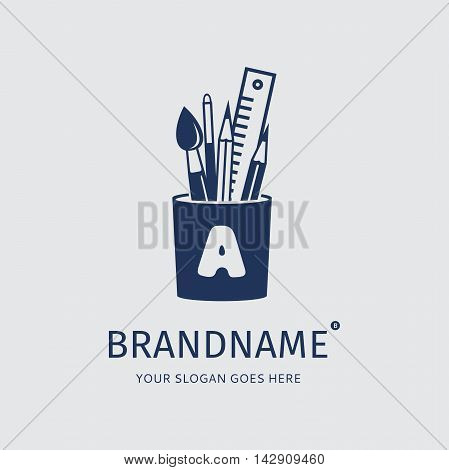 Blue brush, pencil, pen and ruler in the holder on a grey background. Logo design vector template. Symbol concept icon.
