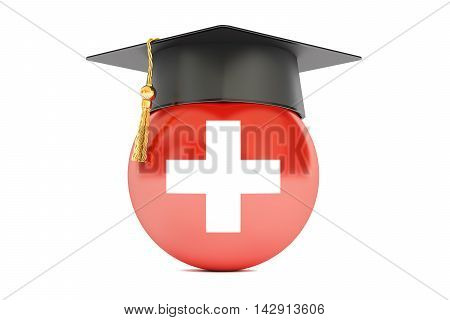 education and study in Switzerland concept 3D rendering isolated on white background