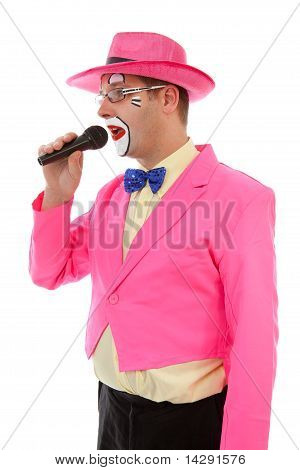 Male Clown As Ringmaster In Pink