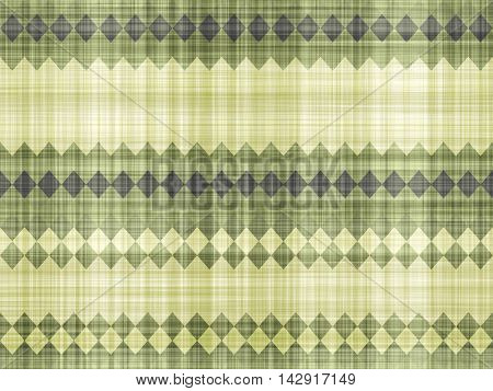 Imitation rustic fabric and a simple green design.