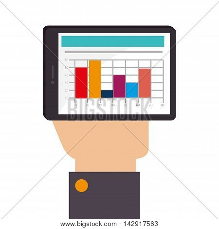 spreadsheet smartphone mobile file data financial statistics table bars graph vector illustration isolated