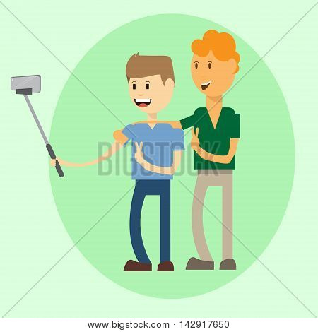 Two Man Taking Selfie Photo On Smart Phone With Stick Vector Illustration