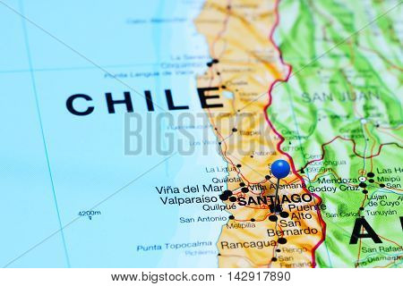 Santiago pinned on a map of Chile
