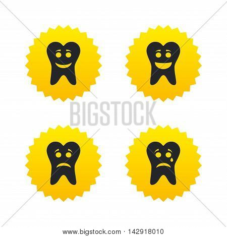 Tooth smile face icons. Happy, sad, cry signs. Happy smiley chat symbol. Sadness depression and crying signs. Yellow stars labels with flat icons. Vector