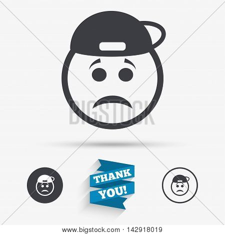 Sad rapper face sign icon. Sadness depression chat symbol. Flat icons. Buttons with icons. Thank you ribbon. Vector