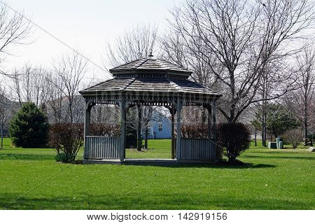 A gazebo in the Wesmere Country Club of Joliet, Illinois, during March.