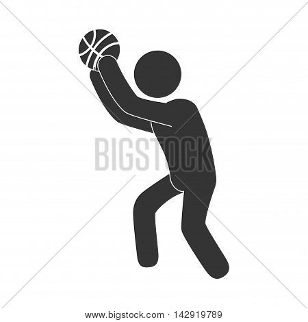 man playing basketball moving pose training exercise sport game vector illustration isolated