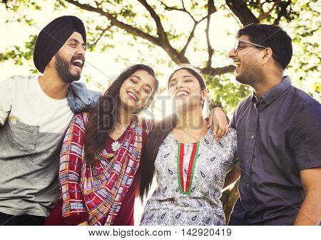 Indian Friends Hangout Park Happy Concept