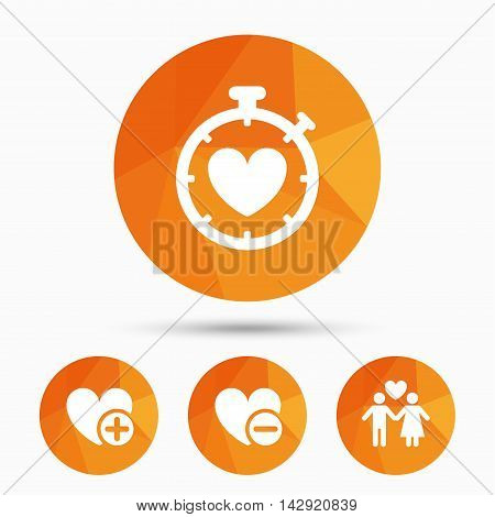 Valentine day love icons. Love heart timer symbol. Couple lovers sign. Add new love relationship. Triangular low poly buttons with shadow. Vector