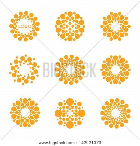 Abstract vector circle logotype. Orange unusual isolated chemistry logos set. Virus icon. Orange sunny sun. Flower