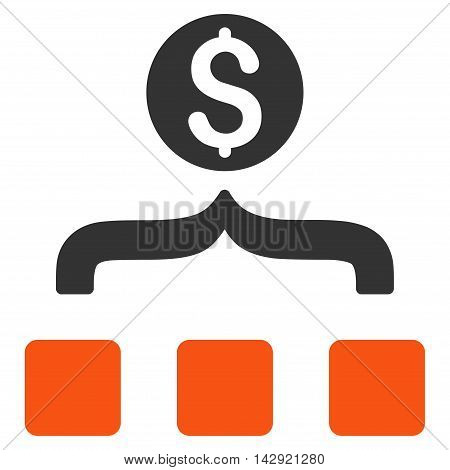 Money Aggregator icon. Vector style is bicolor flat iconic symbol with rounded angles, orange and gray colors, white background.
