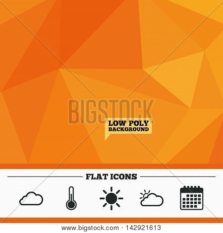 Triangular low poly orange background. Weather icons. Cloud and sun signs. Thermometer temperature symbol. Calendar flat icon. Vector