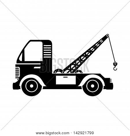 tow crane truck vehicle cargo moving hook mechanical vector  isolated illustration