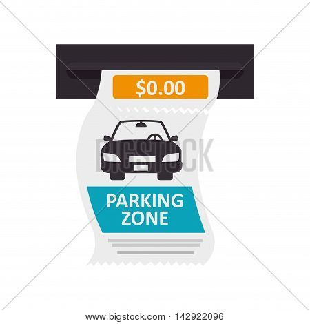 parking ticket auto zone paper pay money push card car vector isolated illustration