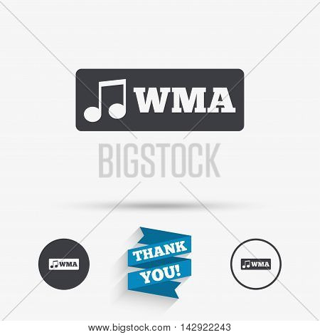 Wma music format sign icon. Musical symbol. Flat icons. Buttons with icons. Thank you ribbon. Vector