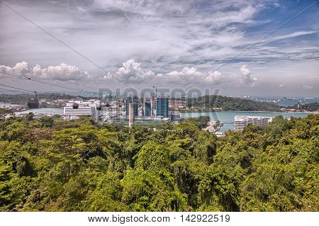 Amazing aerial views of Sentosa island Singapore