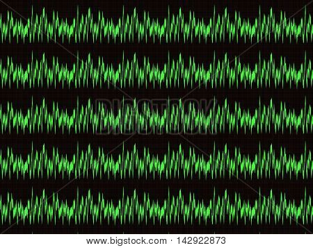 Several horizontal green waveform on the oscilloscope screen with the checkered marking
