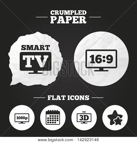 Crumpled paper speech bubble. Smart TV mode icon. Aspect ratio 16:9 widescreen symbol. Full hd 1080p resolution. 3D Television sign. Paper button. Vector
