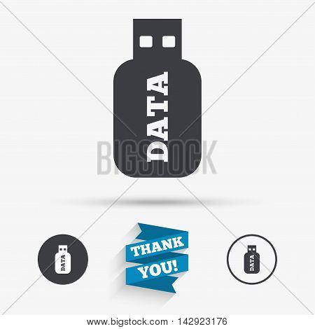Usb Stick sign icon. Usb flash drive button. Flat icons. Buttons with icons. Thank you ribbon. Vector