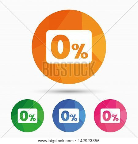 Zero percent sign icon. Zero credit symbol. Best offer. Triangular low poly button with flat icon. Vector