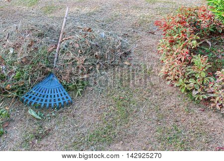 Broom leave. Plastic broom in a garden Broom on a haystack .