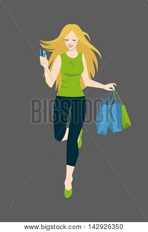 Happy girl with credit card and shopping bags runs to the store. Isolated vector personage.