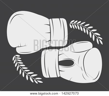 glove boxing sport training icon. black white and flat design. Vector illustration