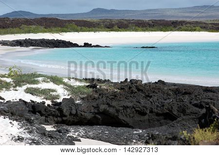 White sand beach at Cerro Brujo, San Cristobal Island, Galapagos