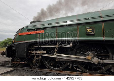 Shildon, UK - July 31st: The LNER Class A4 4488 Union of South Africa delights visitors at the National Railway Museum in Shildon, England July 31 2016 in Shildon, County Durham, UK