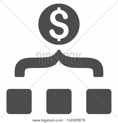Money Aggregator icon. Vector style is flat iconic symbol with rounded angles, gray color, white background.