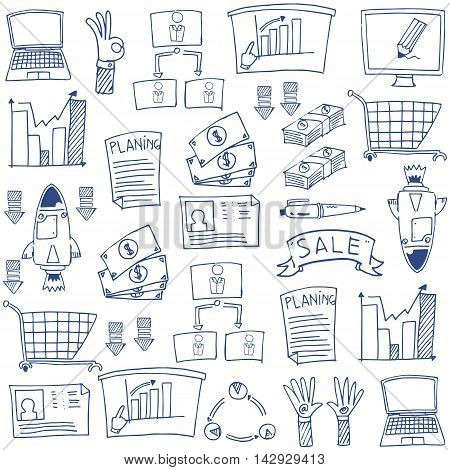 Business hand draw doodles for stock collection
