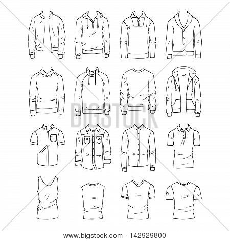 Hand drawn vector clothing set. 16 models of trendy men's tops.