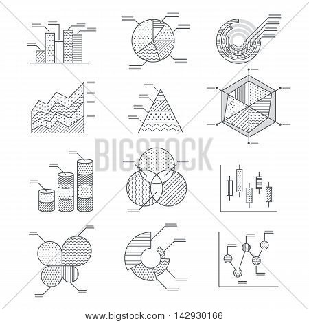 Business graphs diagrams icons set. vector illustration.
