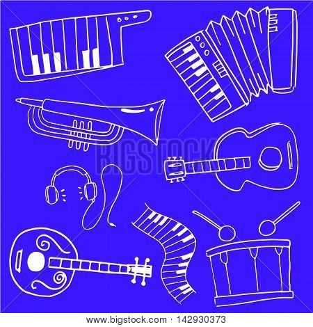 On blue backgrounds music set doodles collection stock