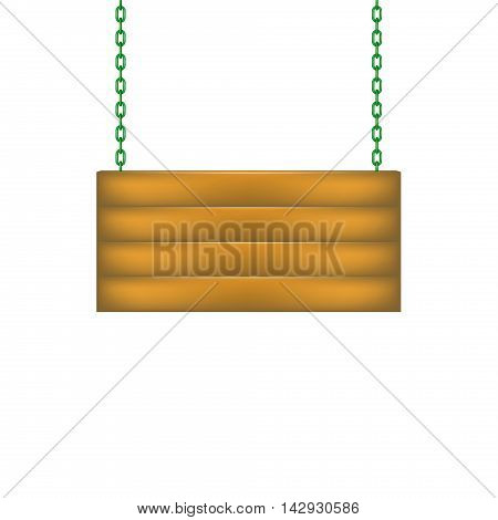 Wooden sign board hanging on chain in green design on white background
