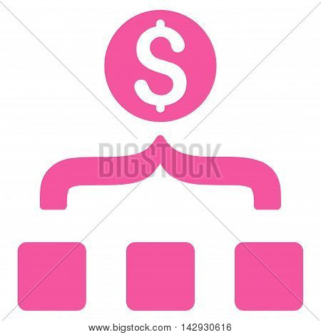 Money Aggregator icon. Vector style is flat iconic symbol with rounded angles, pink color, white background.