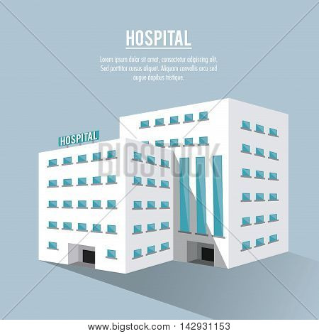 hospital building clinic medical health care icon. Colorful design. Blue background. Vector illustration