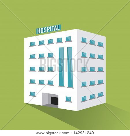 hospital building clinic medical health care icon. Colorful design. Green background. Vector illustration