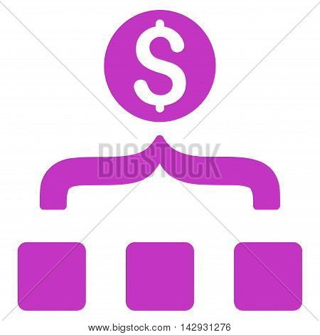 Money Aggregator icon. Vector style is flat iconic symbol with rounded angles, violet color, white background.