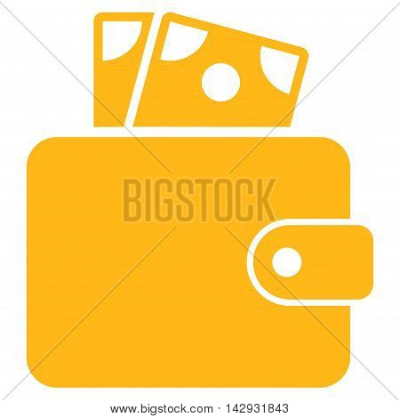 Wallet icon. Vector style is flat iconic symbol with rounded angles, yellow color, white background.