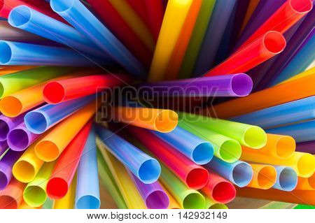 Bright color straws.  Looking down into straws