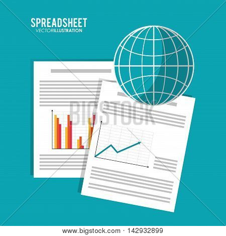Spreadsheet global document infographic icon. Colorful design. Vector illustration