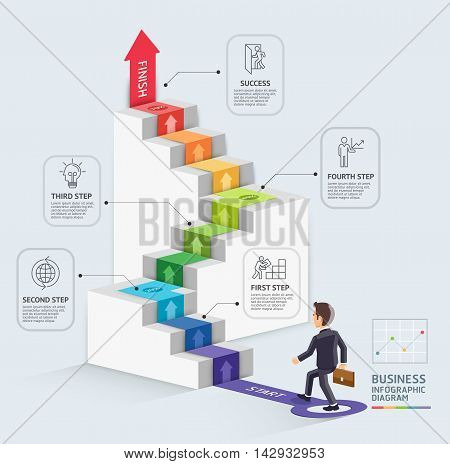 Steps to starting a business template. Businessman walking up an arrow. Vector illustration. Can be used for workflow layout diagram number options web design infographics and timeline.