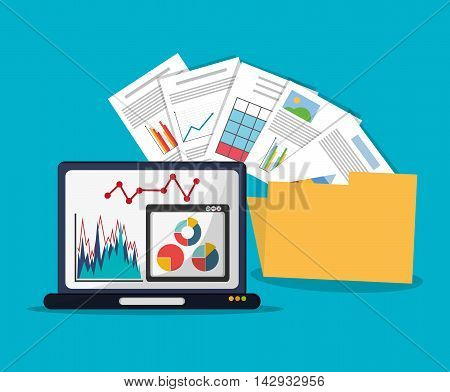 Spreadsheet laptop document infographic icon. Colorful design. Vector illustration