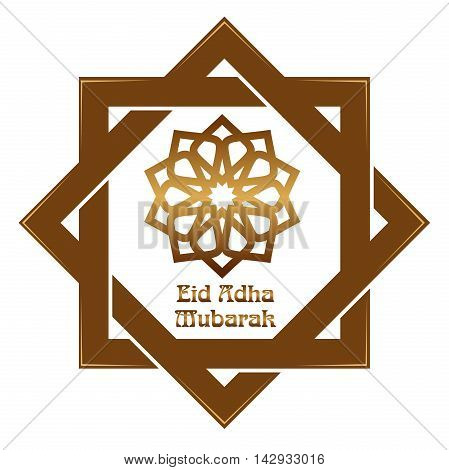 Eid al-Adha - Festival of the Sacrifice Bakr-Eid. Muslim holidays. Gold icon and lettering - Eid Adha Mubarak. Vector illustration isolated on white background
