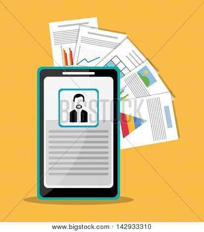 Spreadsheet smartphone document infographic icon. Colorful design. Vector illustration
