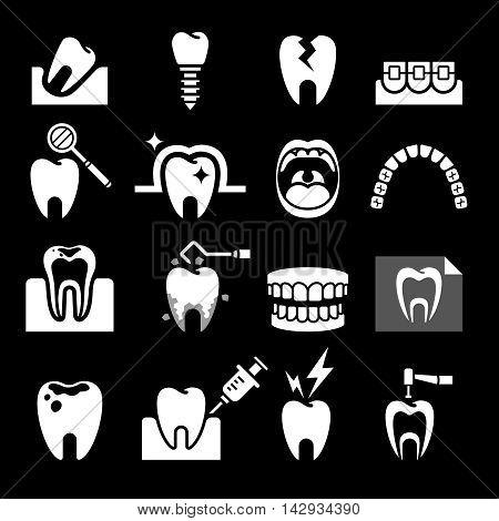 Dental tooth icons set on black ground. Vector illustration.