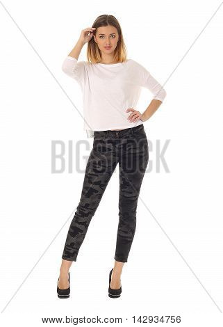 Young Woman Full Length Isolated On White Background