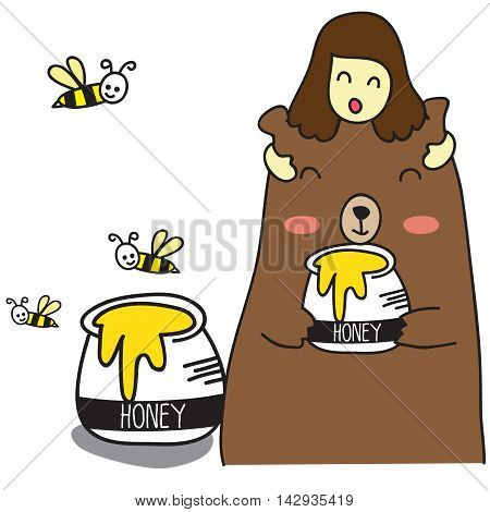 the worker bee brings a pot of honey, vector