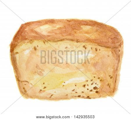 Watercolor white bread. Pastry art for decoration, cafe or restaurant menu. Isolated bread on white background.